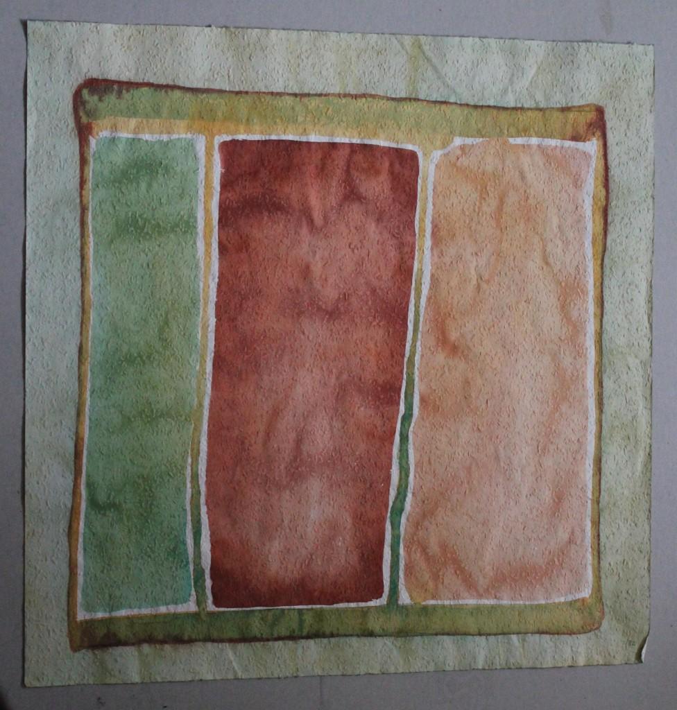 dreigeteilt, Tempera auf Rauhfasertapete, 1982, 53 x 53