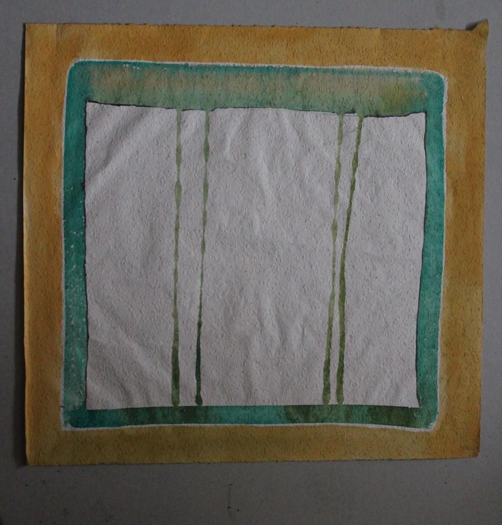 Vorhang mit Rahmen, Tempera auf Rauhfasertapete, 1982, 53 x 49,5