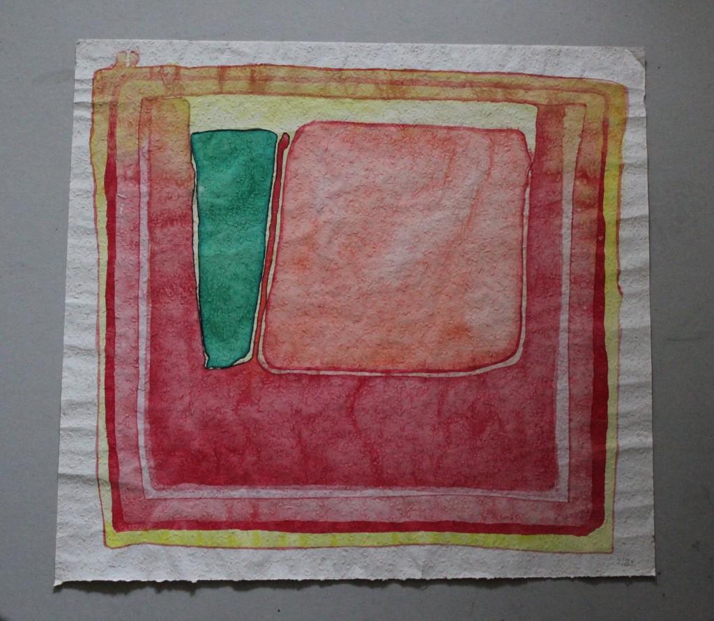 Haupt und neben, Tempera auf Rauhfasertapete, 1982, 53 x 49