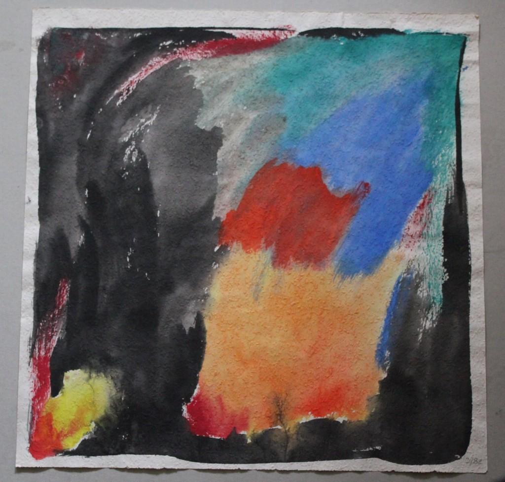 unpassende Farben, Tempera auf Rauhfasertapete, 1982, 53 x 53,5