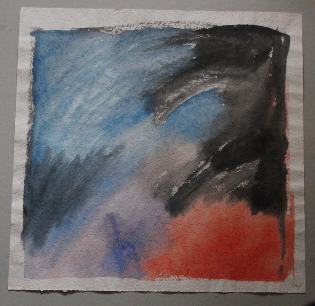 gestörtes Kalt-Warm, Tempera auf Rauhfasertapete, 1982, 53 x 52