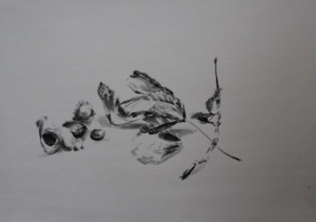 Stillleben, Pinsel/Tusche auf Papier, 80-er Jahre, 60 x 42