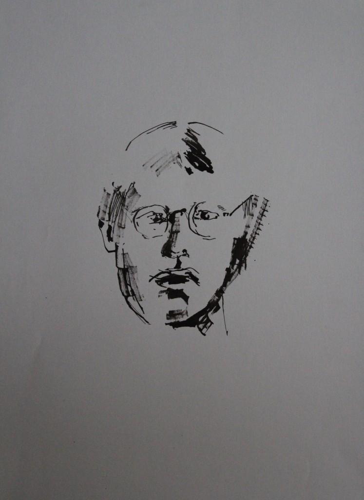 Selbst, Pinsel/Tusche auf Papier, 80-er Jahre, 42 x 56
