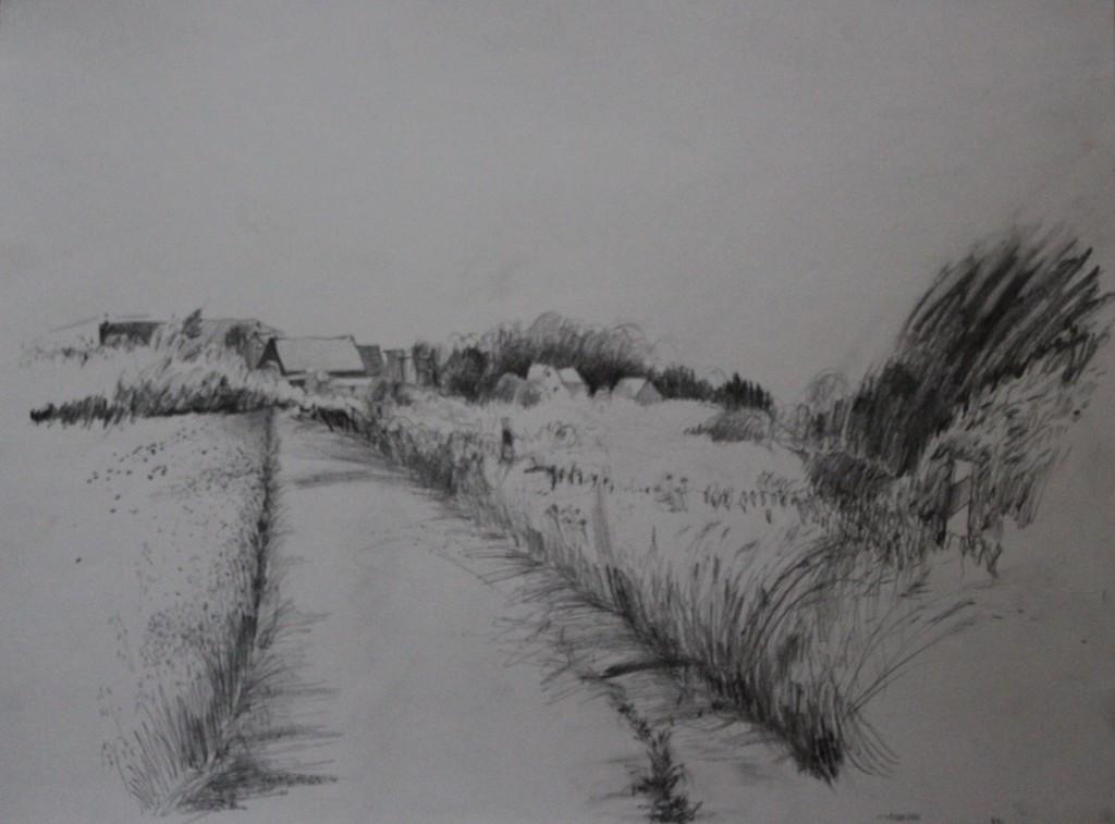 fränkische Landschaft, Bleistift auf Papier, 80-er Jahre, 56 x 42