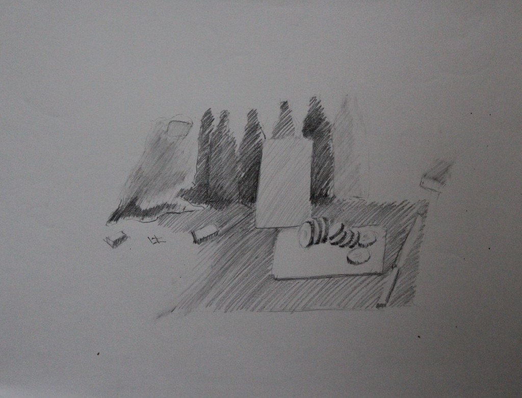 Stillleben mit Gurkenscheiben, Bleistift auf Papier, 80-er Jahre, 56 x 42