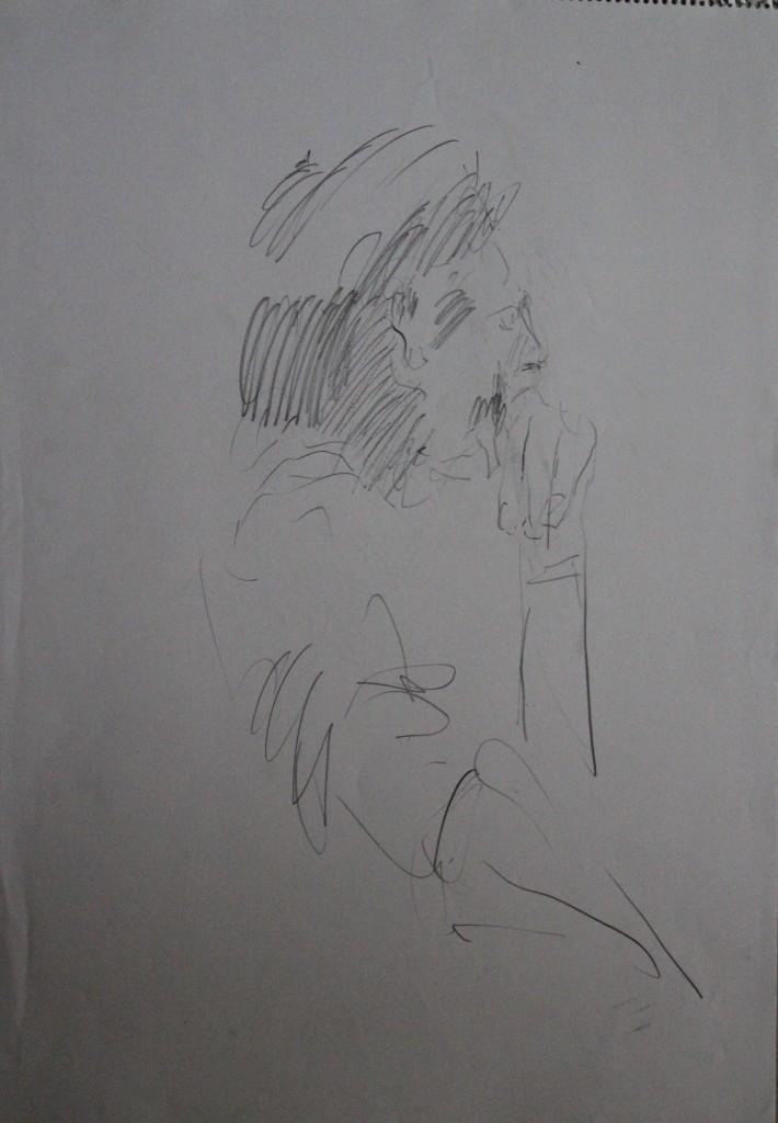 Figur, Bleistift auf Papier, 80-er Jahre, 42 x 56