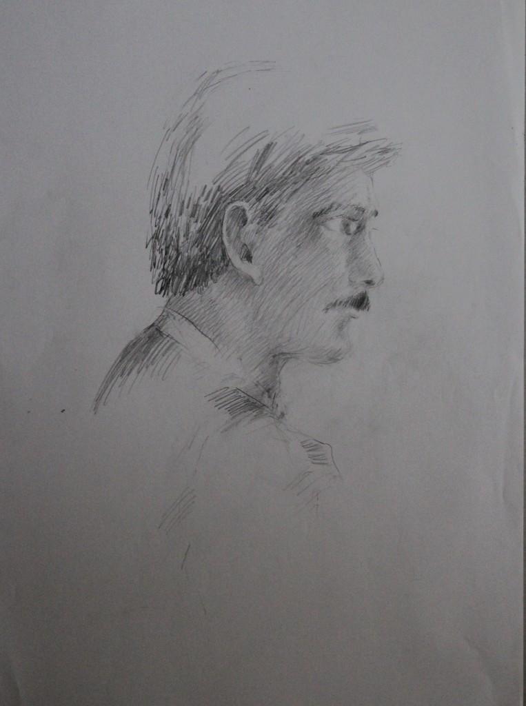 schlechtes Porträt seitlich, Bleistift auf Papier, 80-er Jahre, 42 x 56