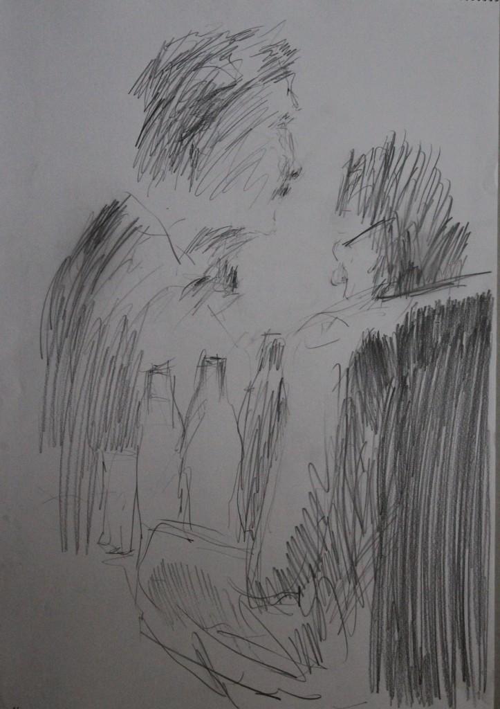 Szene mit 2 Figuren, Bleistift auf Papier, 80-er Jahre, 42 x 56