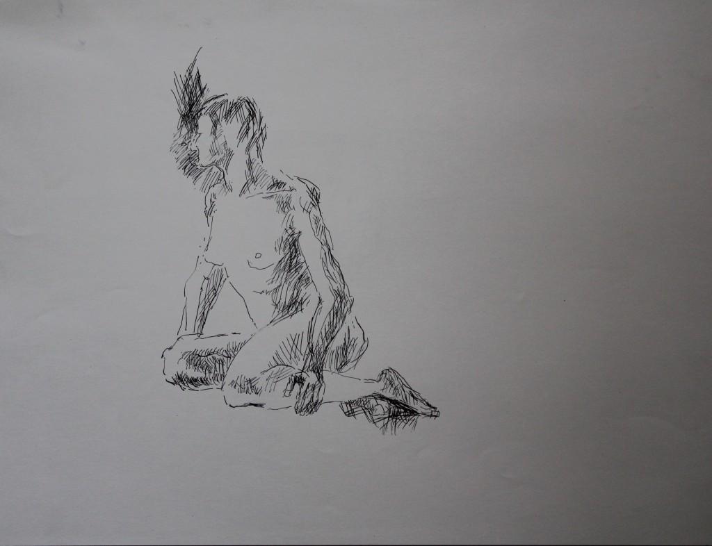 Akt, Feder/Tusche auf Papier, 80-er Jahre, 56 x 42