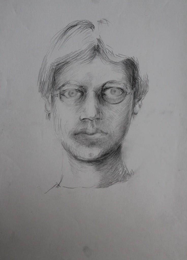 Portrait, Bleistift auf Papier, 80-er Jahre, 42 x 56