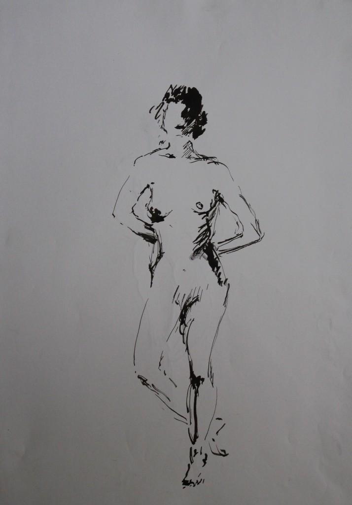 Akt, Rohrfeder/Tusche auf Papier, 80-er Jahre, 42 x 56