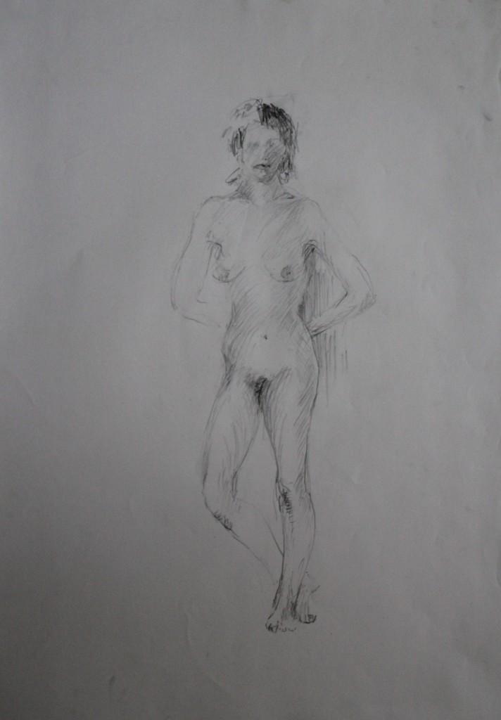 Akt, Bleistift auf Papier, 80-er Jahre, 42 x 56