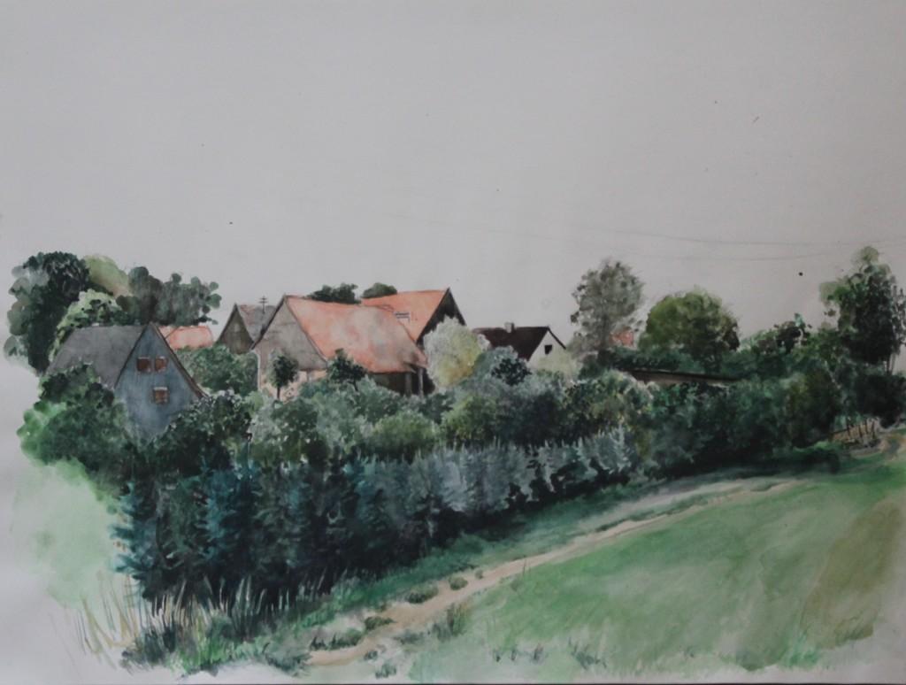 fränkische Landschaft, Aquarell, 80-er Jahre, 56 x 42