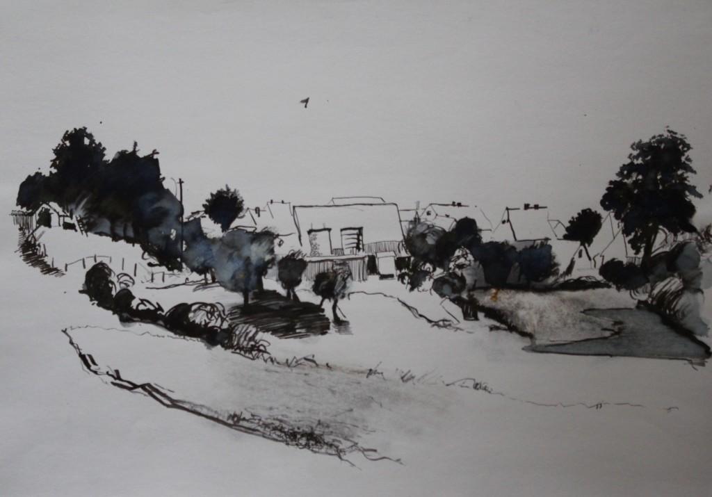 fränkische Landschaft, Rohrfeder/Tinte auf Papier, 1982, 59 x 42