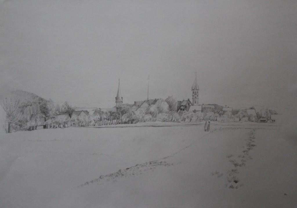 fränkische Landschaft, Bleistift auf Papier, 1982, 56 x 42