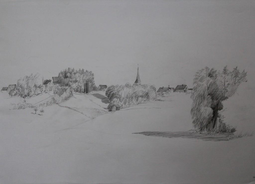 fränkische Landschaft, Bleistift auf Papier, 1982, 59 x 42