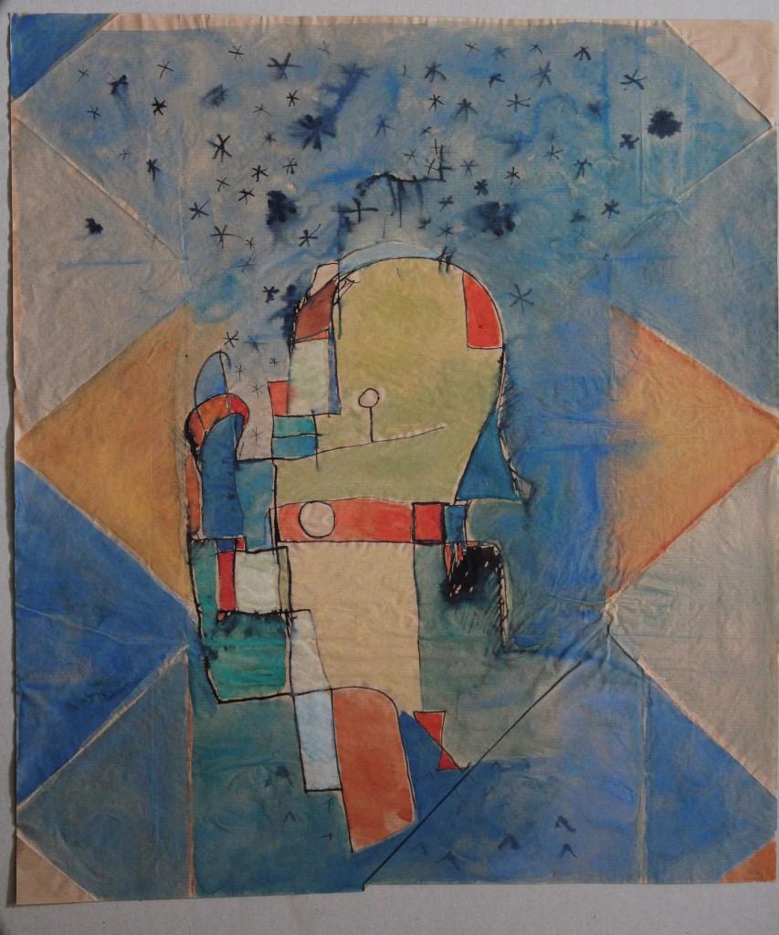 kleine Harmonie, konstruiert, Tempera/Tusche auf dünnem Packpapier, 80-er Jahre, 46 x 52