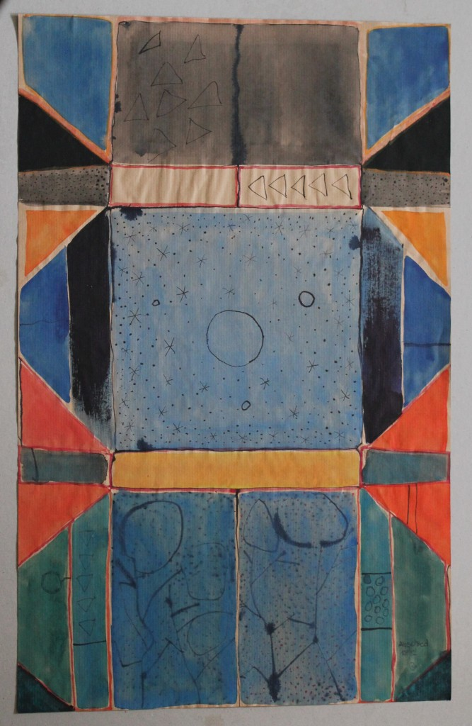 gefangener Kosmos, Tempers/Tusche auf Packpapier, 80-er Jahre, 39 x 61