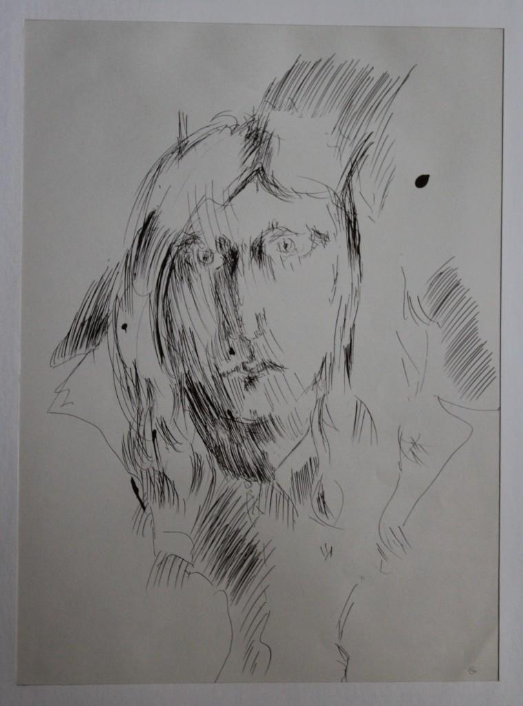 Selbst, traurig, Feder/Tusche auf Papier, 80-er Jahre, 31,5 x 42