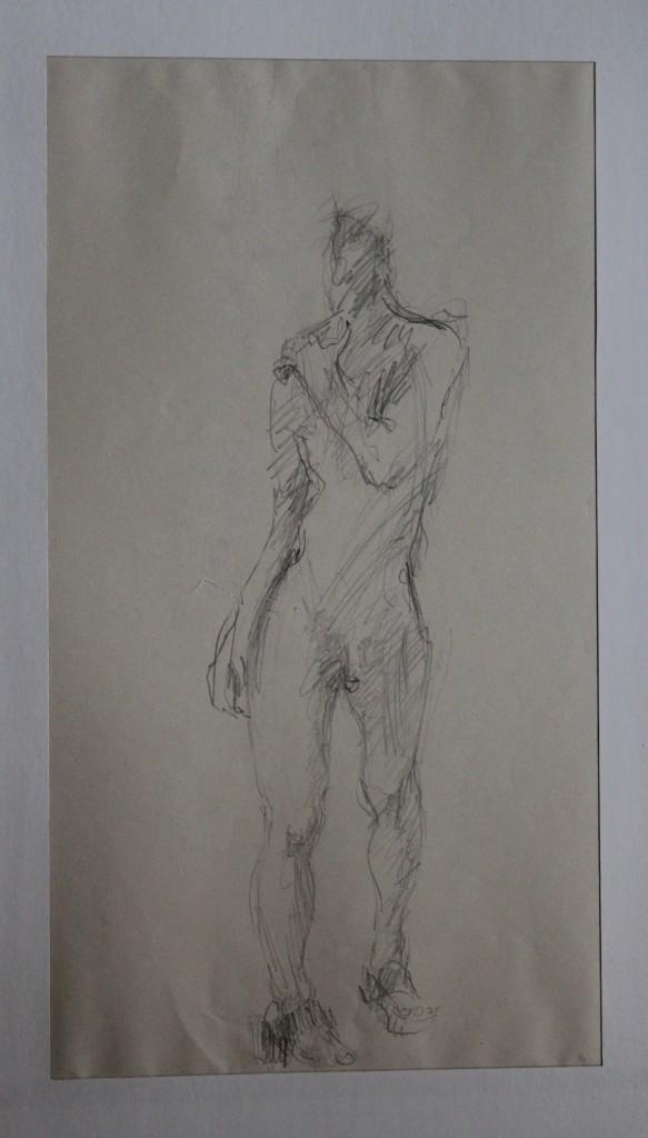 Akt, Bleistift auf Papier, Ende 70-er/Anfang 80-er Jahre, 25 x 45,5