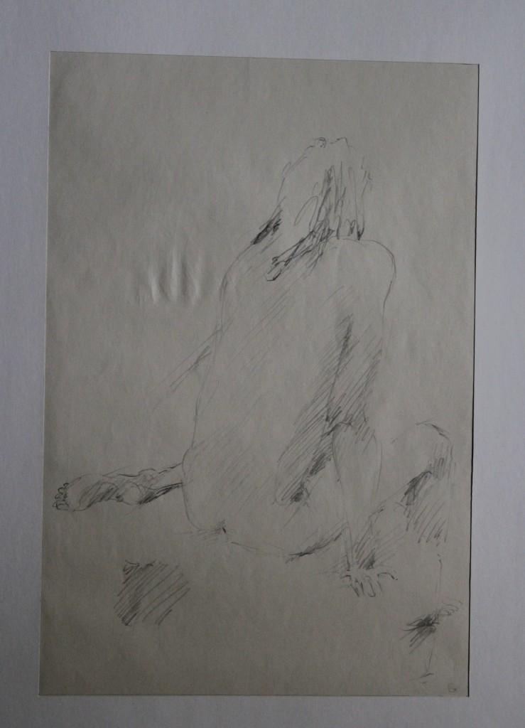Akt von hinten, Bleistift auf Papier, Ende 70-er Jahre, 27 x 40