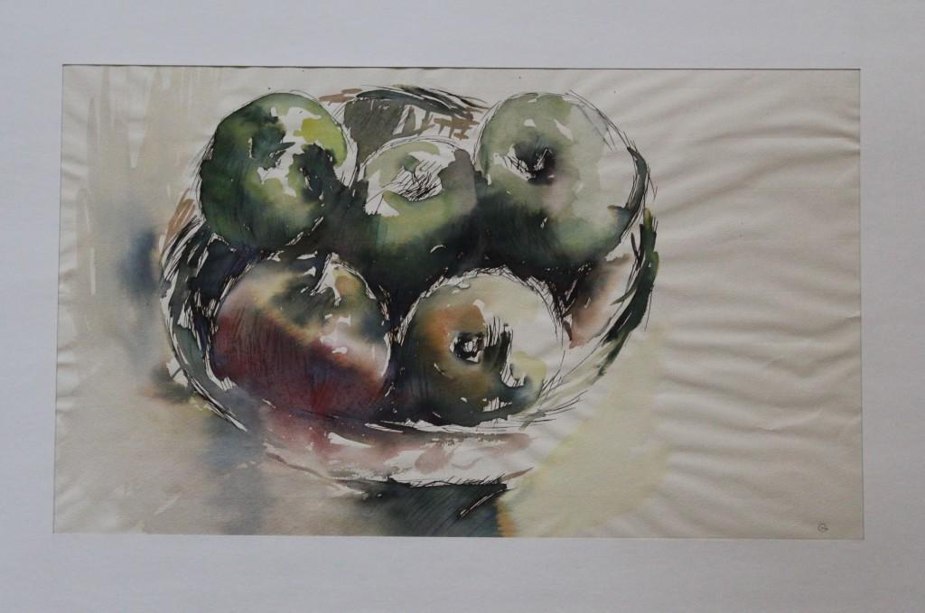 Stillleben mit Äpfeln, Aquarell, Ende 70-er/Anfang 80-er Jahre, 41 x 24