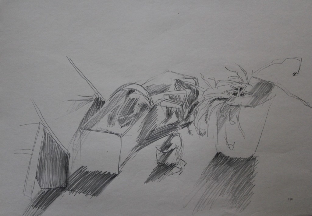 Stillleben mit Spankorb, Bleistift auf Papier, 1981, 56 x 42