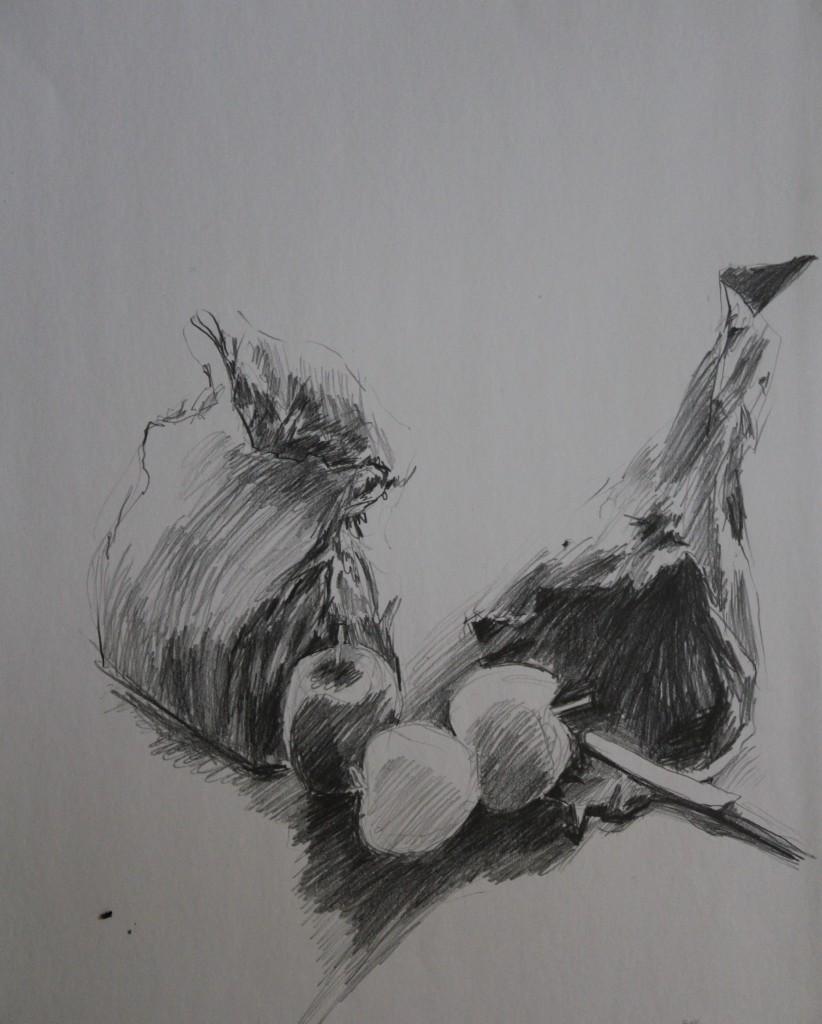 Stillleben mit Äpfeln, Bleistift auf Papier, 1981, 41,5 x 52