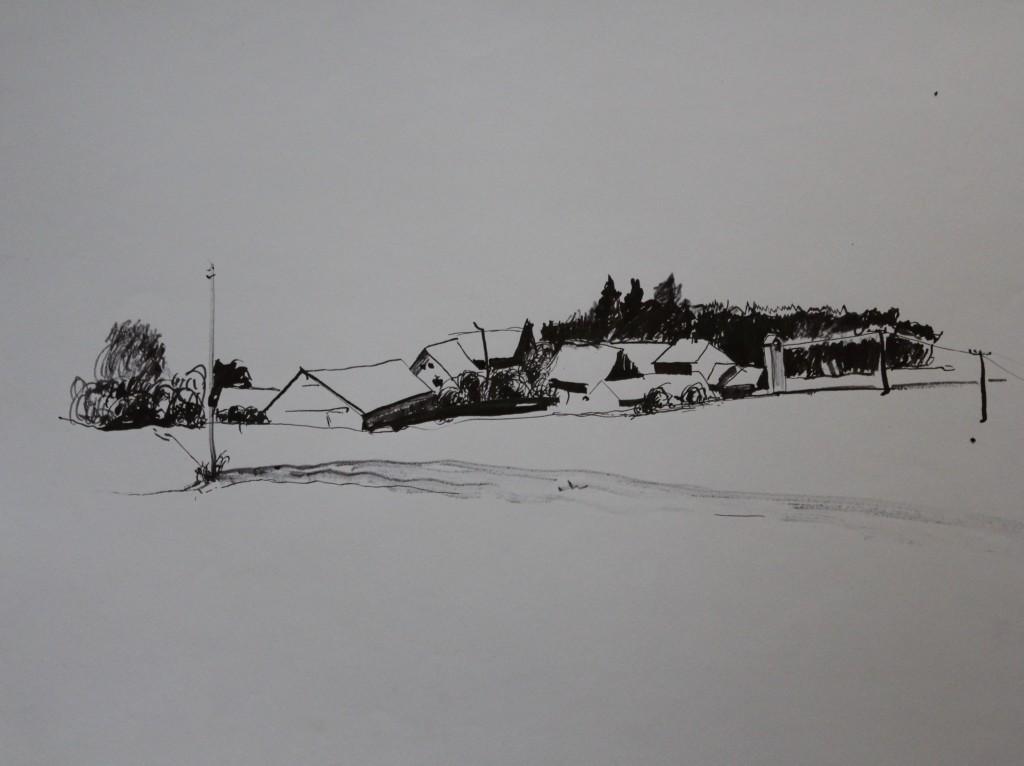 fränkische Landschaft, Rohrfeder/Tusche auf Papier, 1982, 56 x 42