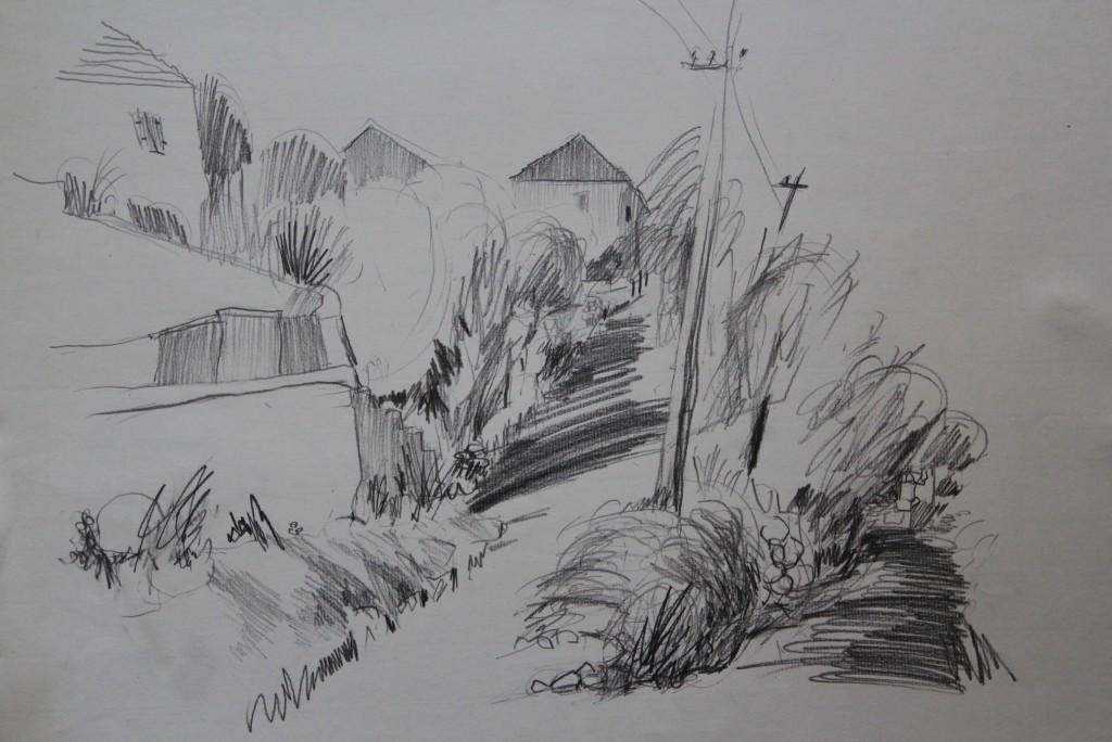 Ortschaft, Bleistift auf Papier, 1984, 63 x 43