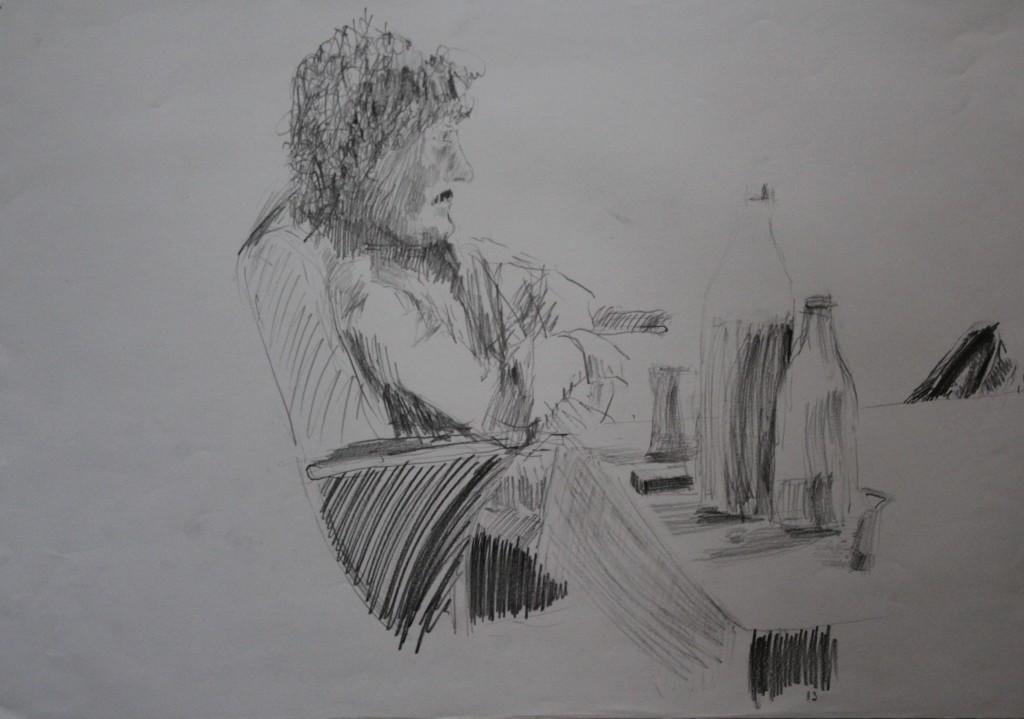 Szene mit Figur, Bleistift auf Papier, 1982, 59 x 42