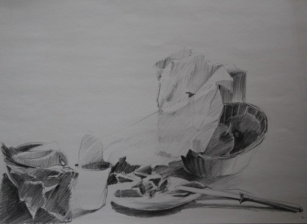 Stillleben, Bleistift auf Papier, 1981, 57 x 61
