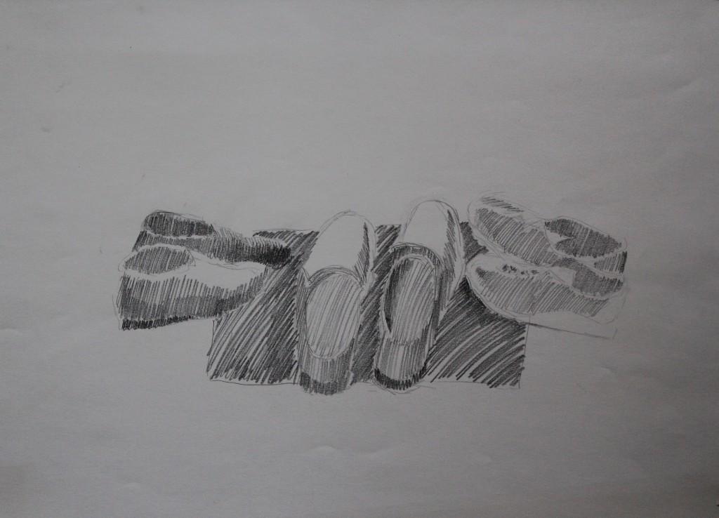 Schuhe, Bleistift auf Papier, Anfang 80-er Jahre, 56 x 42