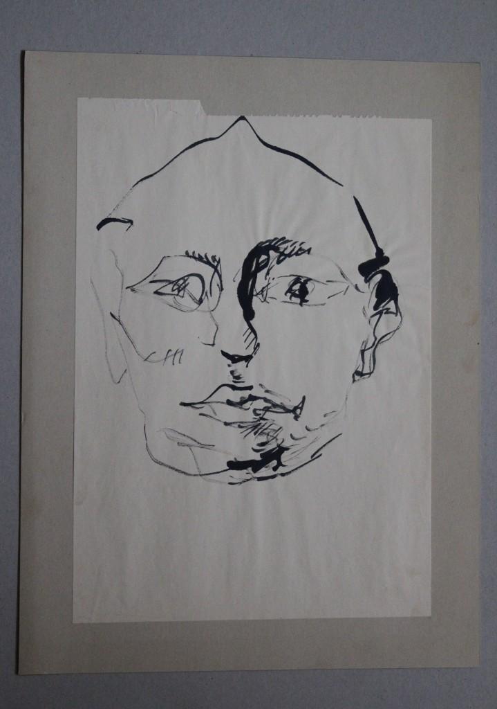 Gesicht, Rohrfeder/Tusche auf Papier, Anfang 80-er Jahre, 29 x 41