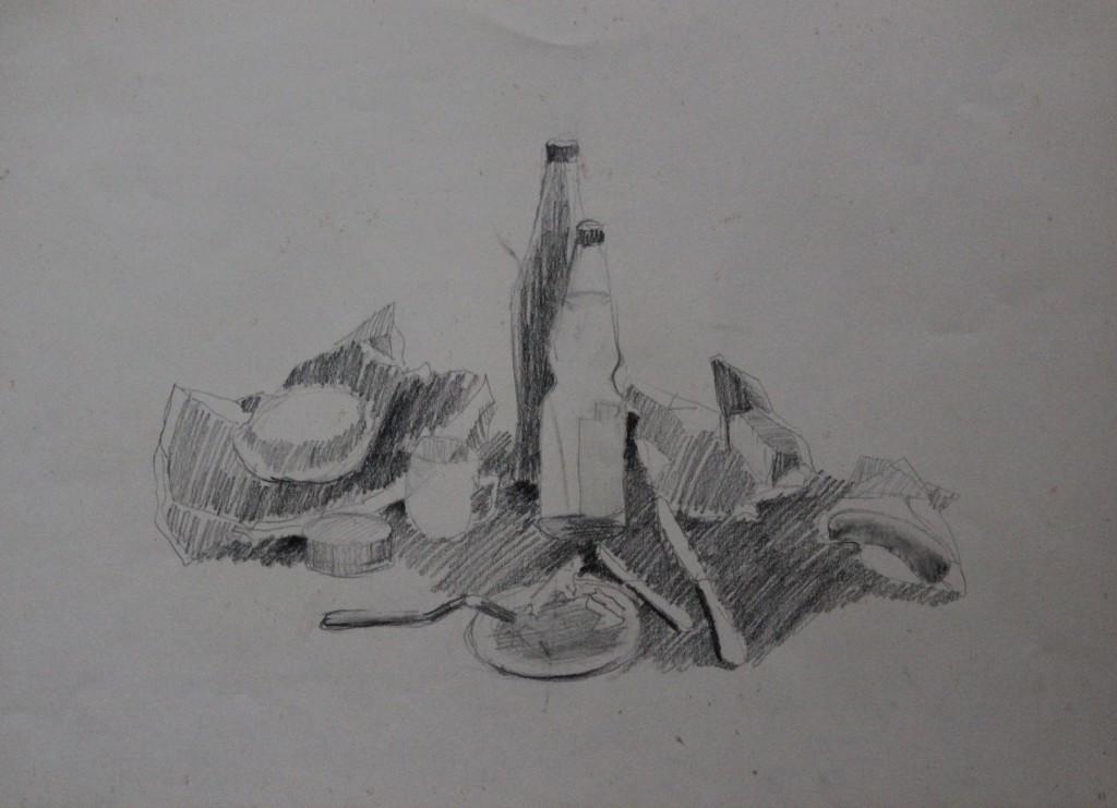Stillleben, Bleistift auf Papier, 80-er Jahre, 45 x 33