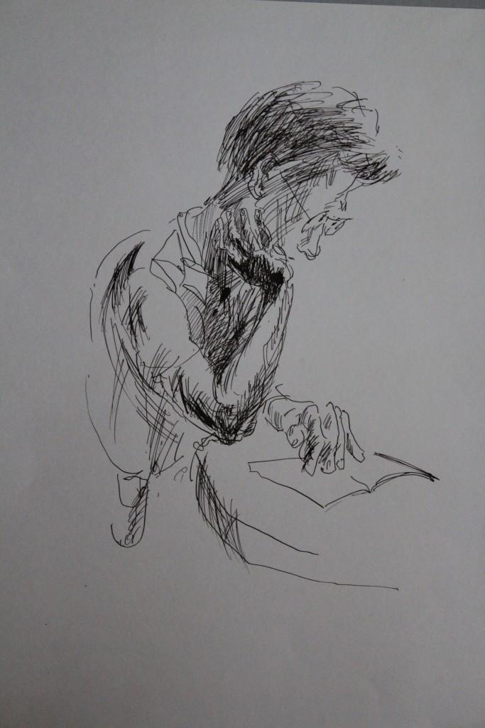 Lesender, Feder/Tinte auf Papier, 1984, 41 x 59
