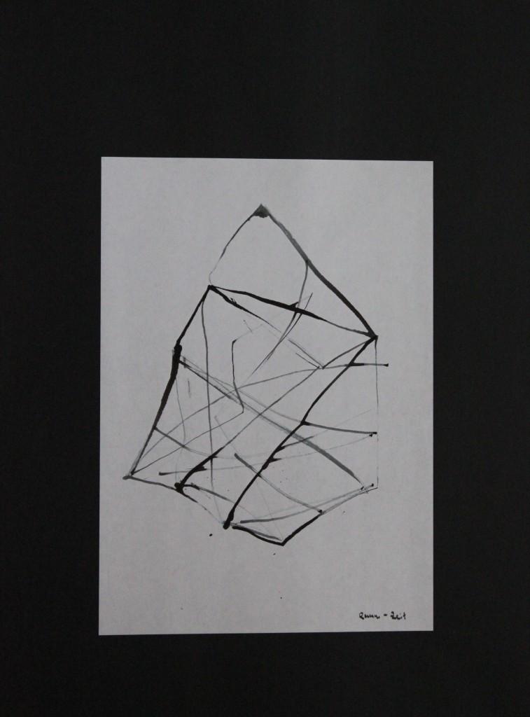 Raum-Zeit, Rohrfeder/Tusche auf Papier, 80-er Jahre, 21 x 29,7