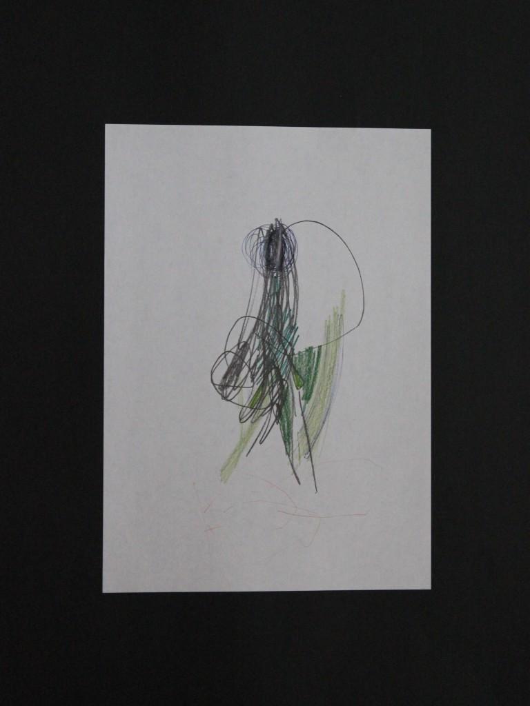 Zeichnung, informell, Bleistift/Farbstift auf Papier, 80-er Jahre, 21 x 29,7