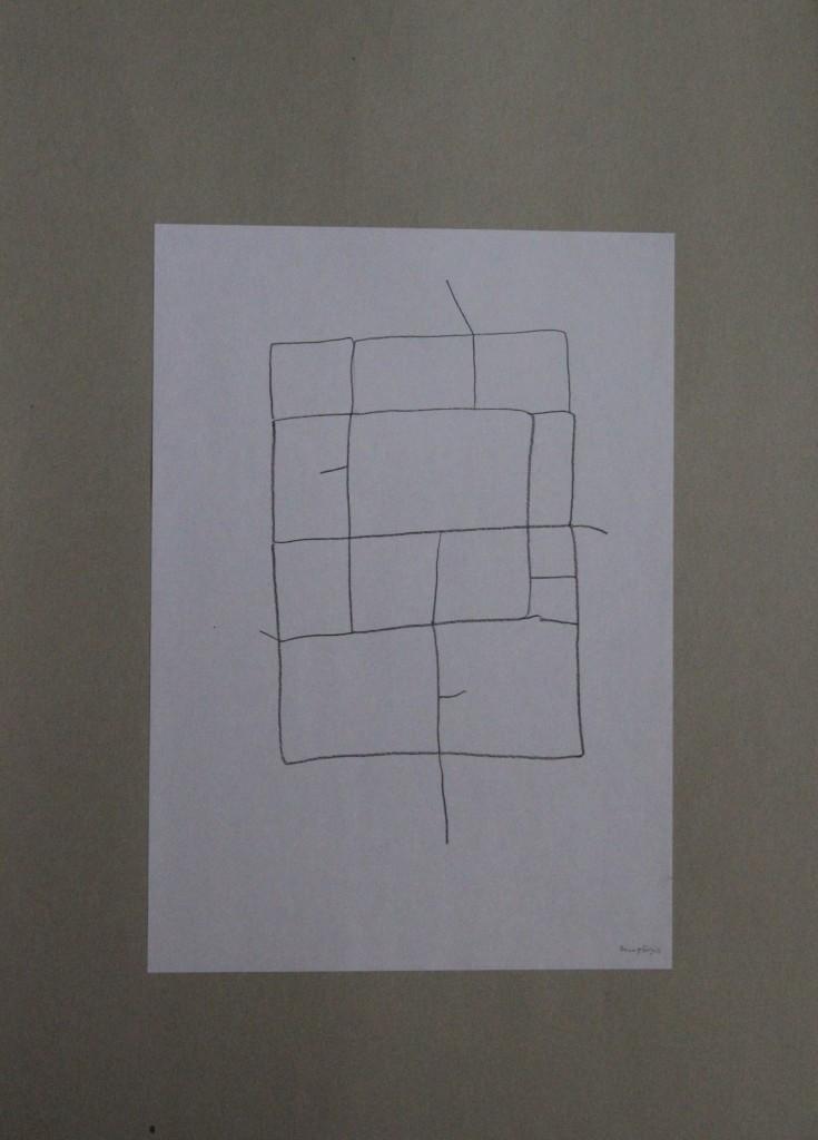 Baumgefängnis, Feder/Tusche auf Papier, 80-er Jahre, 21 x 29,7