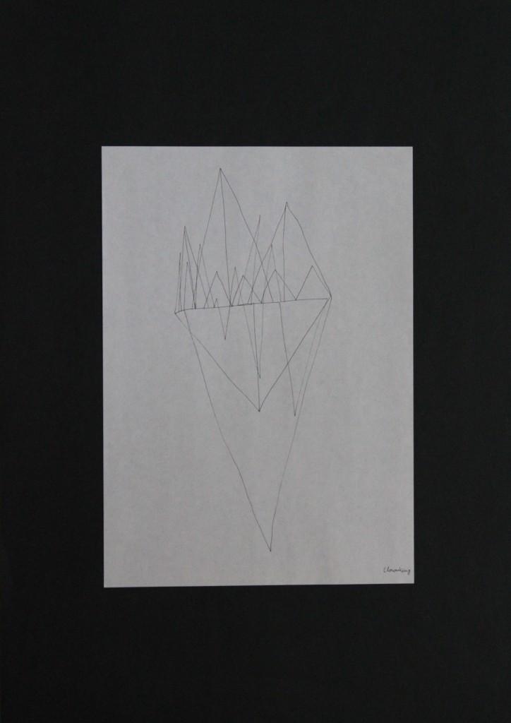 Clownkönig, Feder/Tusche auf Papier, 80-er Jahre, 21 x 29,7