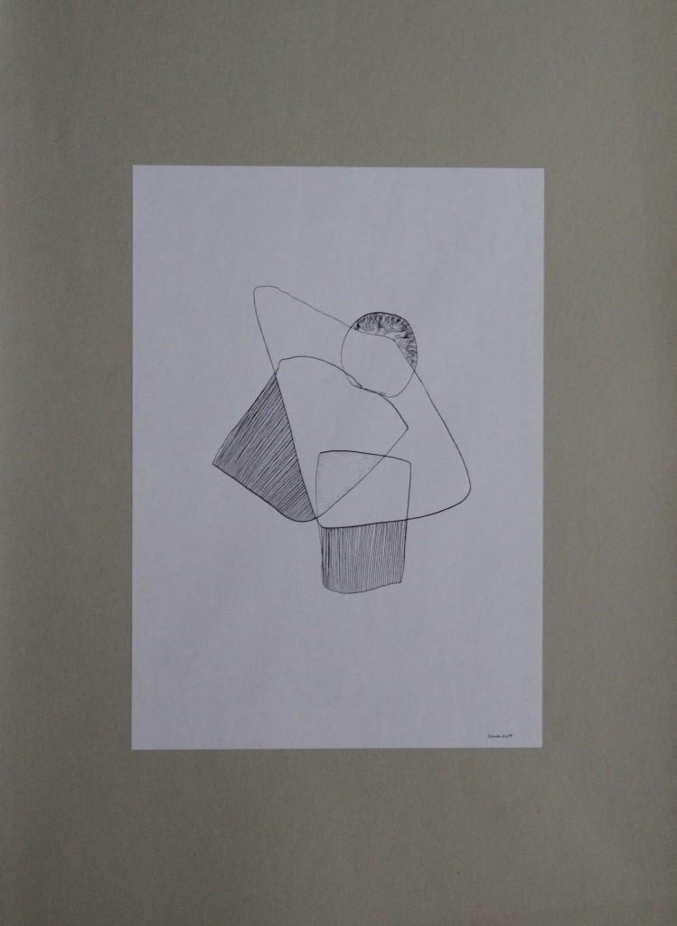 Sonnenblatt, Feder/Tusche auf Papier, 80-er Jahre, 21 x 29,7