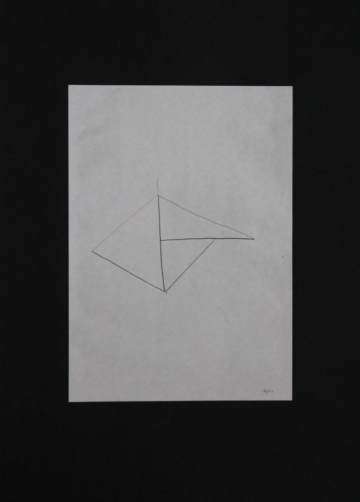 Objekt, Farbstift auf Papier, 80-er Jahre, 21 x 29,7
