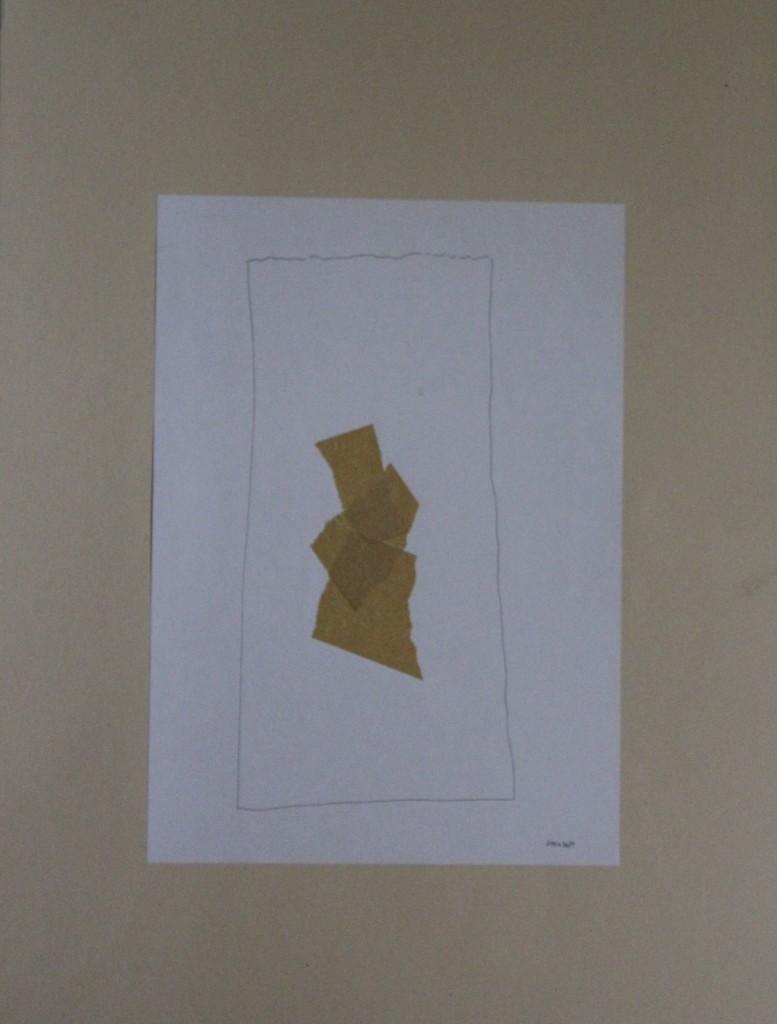 Steinbett, Krepp/Feder/Tusche auf Papier, 80-er Jahre, 21 x 29,7