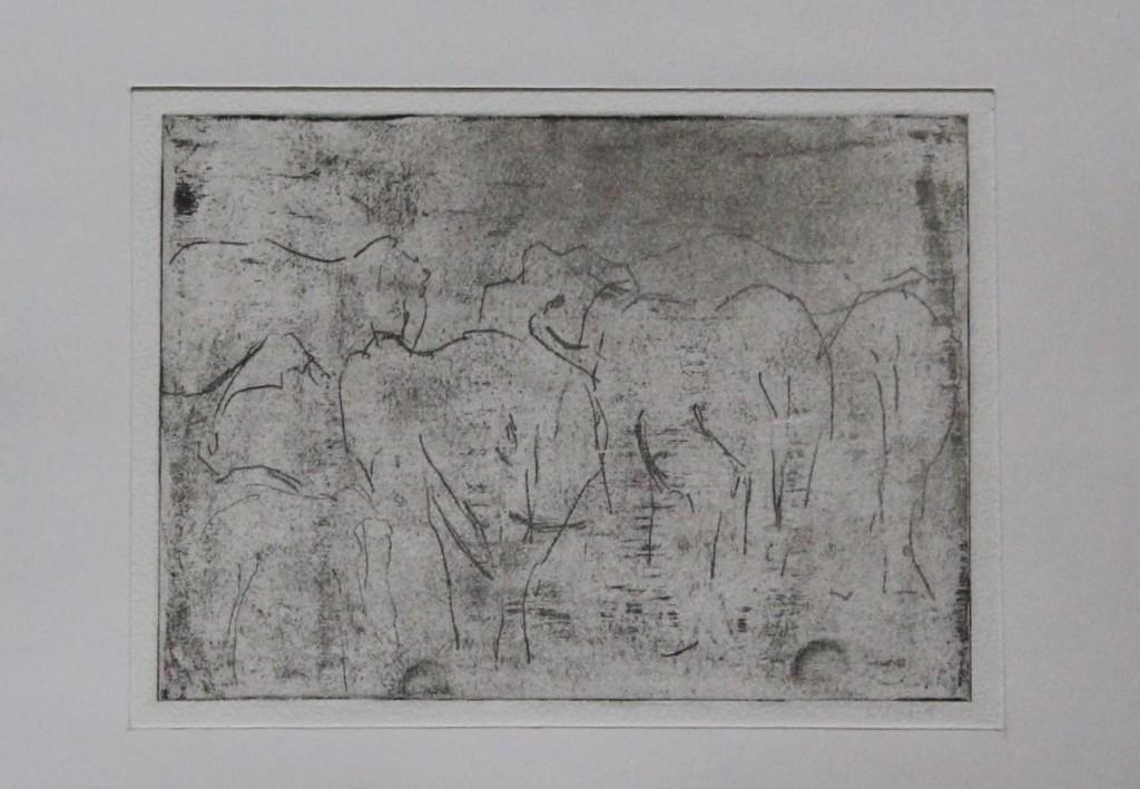 Elefanten, Radierung, Ende 70-er Jahre, 16 x 12