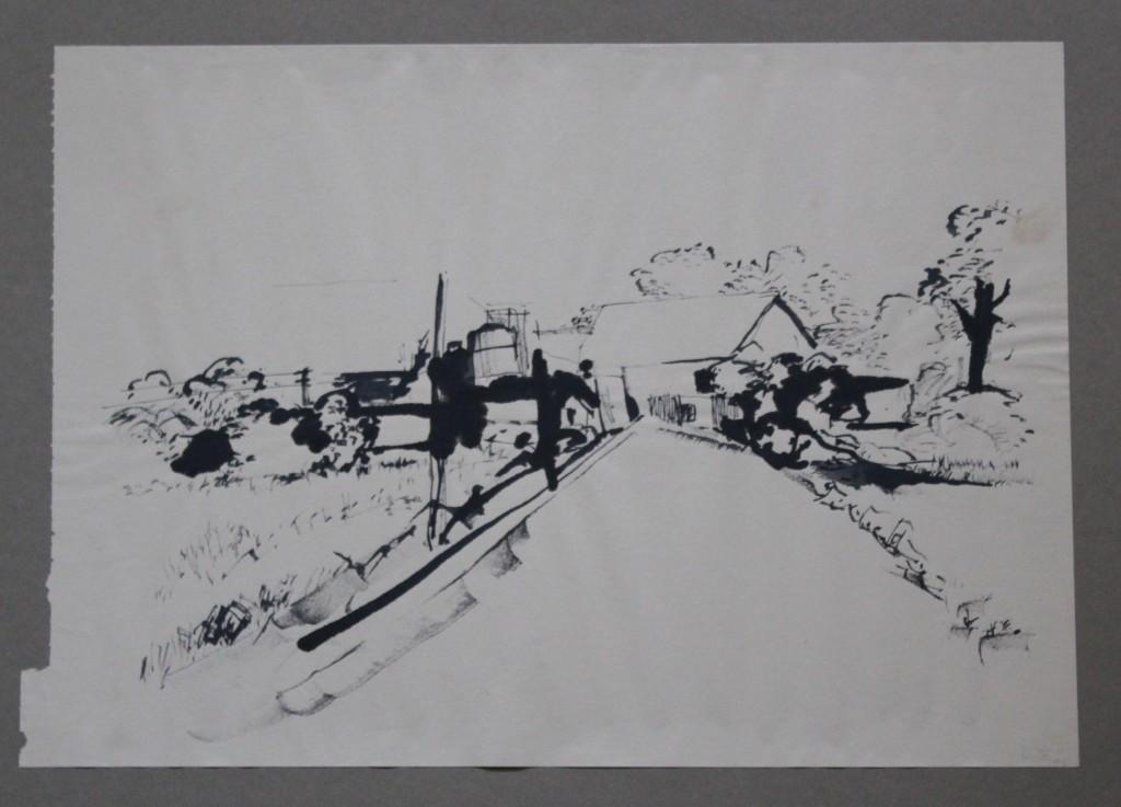 fränkisches Dorf, Tusche/Rohrfeder auf Papier, 80-er Jahre, 41 x 29