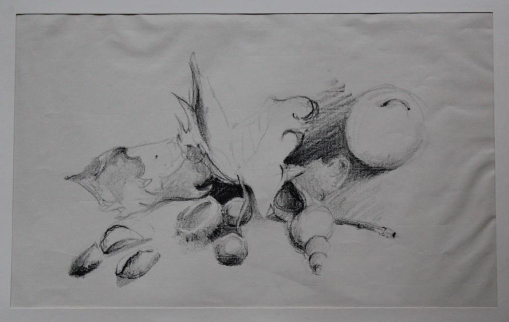Stillleben, Ölkreide auf Papier, 80-er Jahre, 43,5 x 27