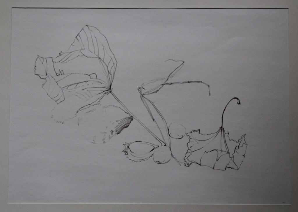 Stillleben, Filzschreiber auf Papier, 80-er Jahre, 47 x 37,5