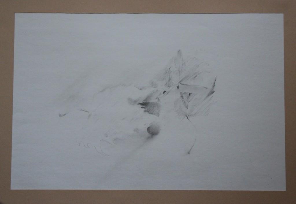 Stillleben, Bleistift verwischt (Fläche) auf Papier, 80-er Jahre, 46,5 x 31