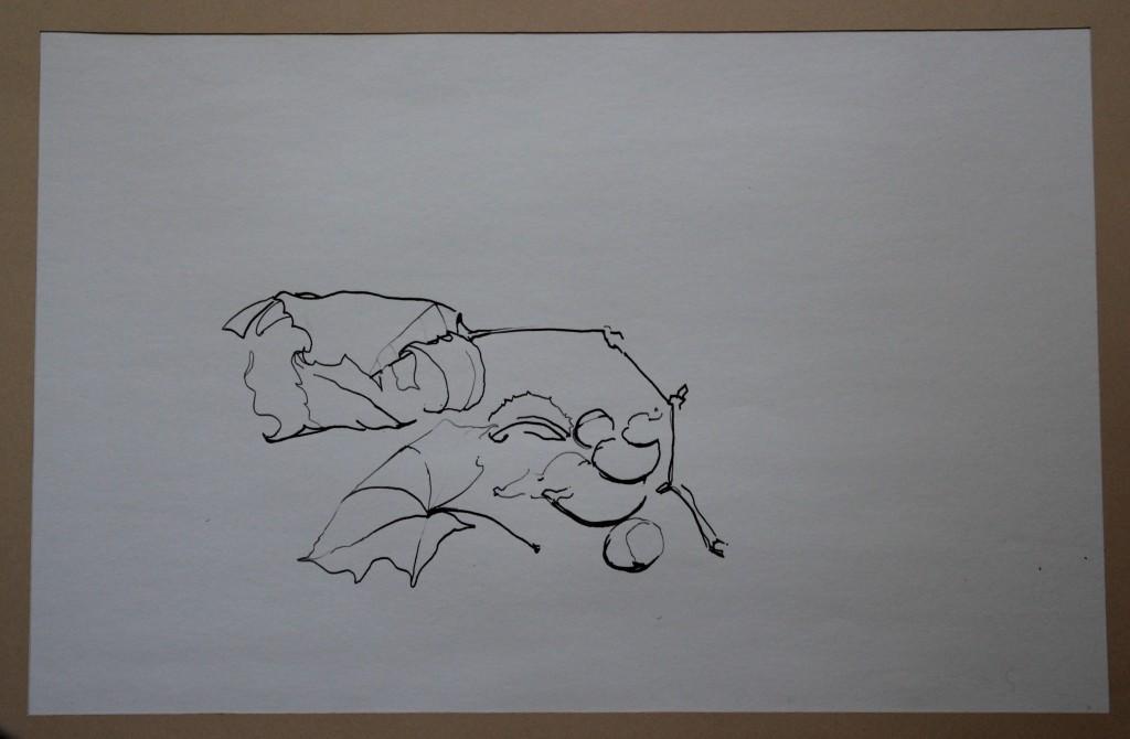 Stillleben, Tusche (Linie) auf Papier, 80-er Jahre, 56 x 36