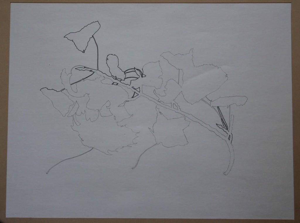 Ästchen, Tusche/Bleistift (starre Linie, Konturzeichnung) auf Papier, 80-er Jahre, 50 x 38